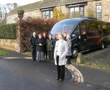 Group Launch with Durham City Coaches at Whalton Manor Gardens - Owner Penny Norton is in the foreground