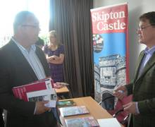 Woods Coaches MD Kevin Brown talks to Sebastian Fattorini of Skipton Castle at the 'Meet the Tour Buyer' Workshop at Jurys Inn Hotel, Bradford
