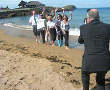 The Scottish Seabird Centre is in the background here at North Berwick beach as the tourism industry unveil 'Explore East Lothian' - a brand new set of touring itineraries for UK and inbound tour planners - developed by Steve Reed Tourism Ltd