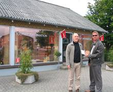 Denmark Inbound: Outside Tarm TIC in Jutland with Frank Juel Rhan of the local Tourist Board